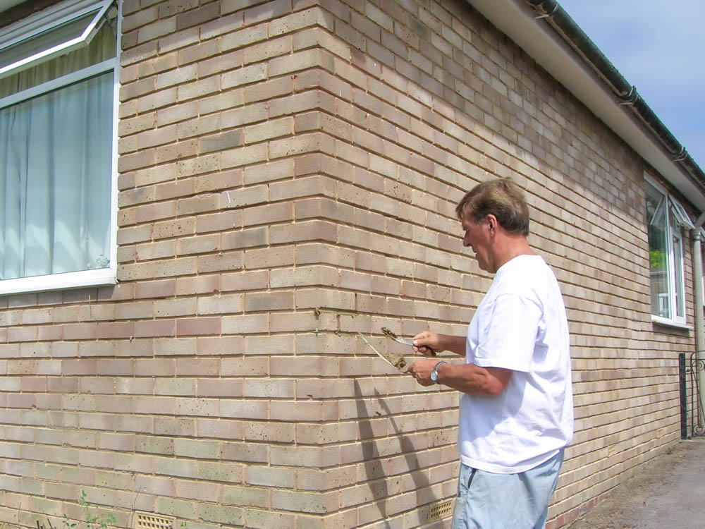 Repointing of a 1970's house where the wall has weathered.